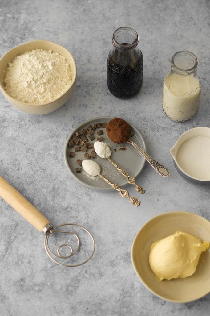 Zutaten für den Veganer Rotweinkuchen