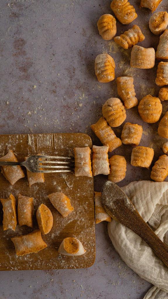 Süßkartoffelgnocchi mit Ricotta