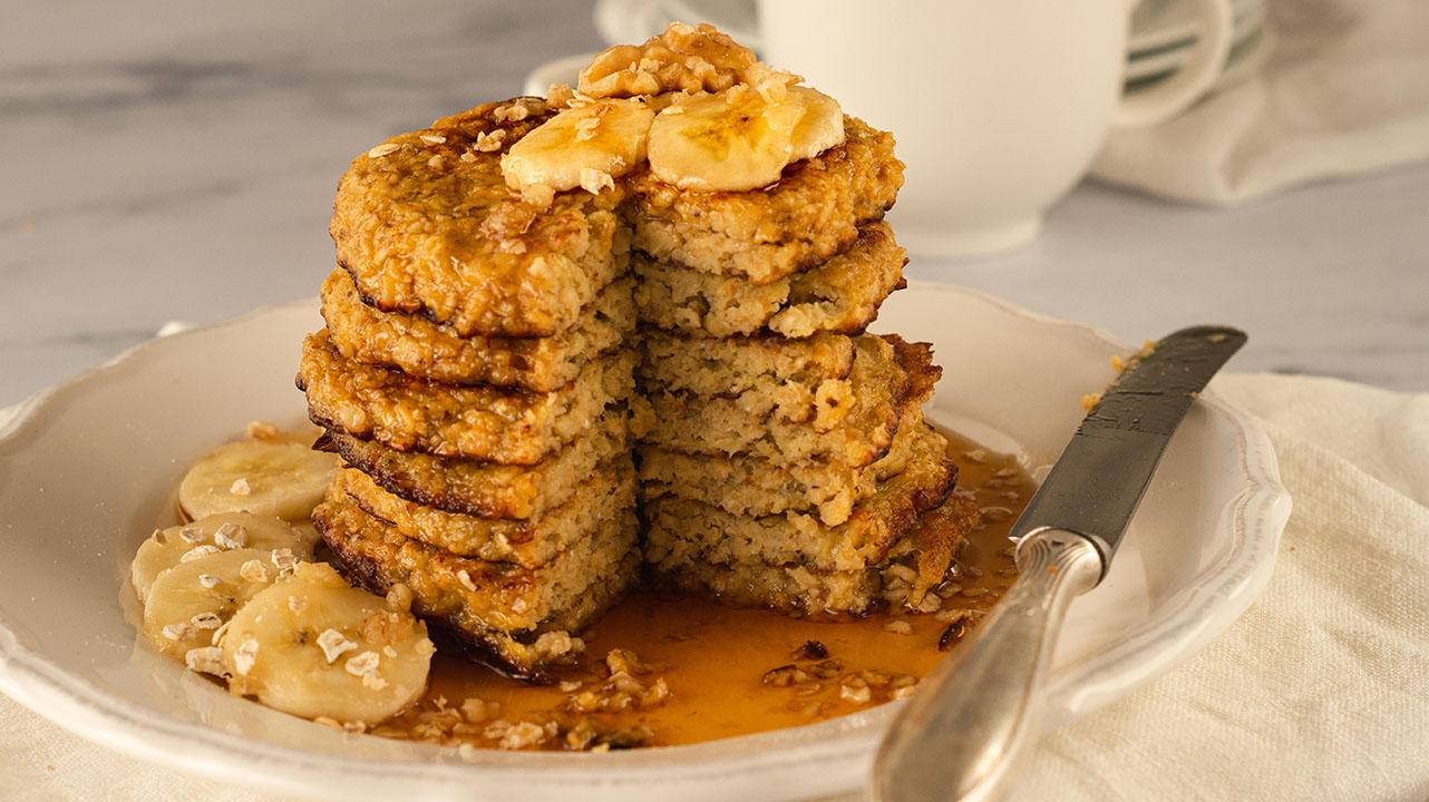 Bananen-Haferflocken-Pancakes