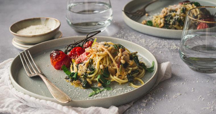 Spaghetti mit Bärlauch Tomatensauce