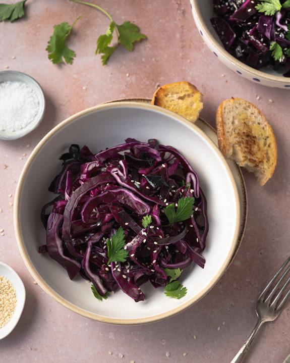 Schneller Rotkohlsalat: Eine Nahaufnahme
